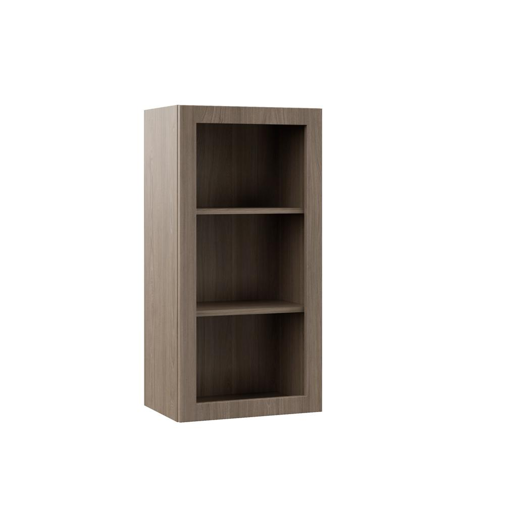 Open Cabinet Hampton Bay Designer Series Edgeley Assembled 18x36x12 In Wall Open Shelf Kitchen Cabinet In Driftwood