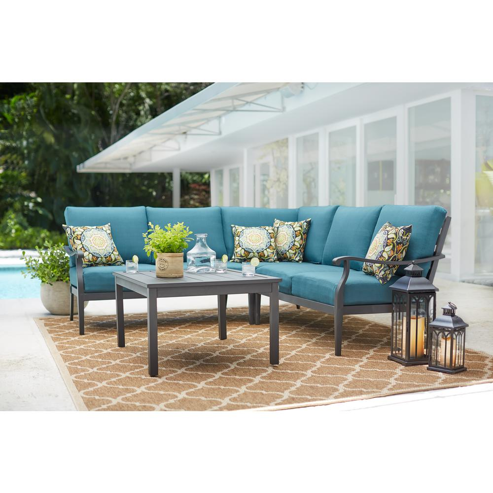 Patio Outdoor Hampton Bay Riley 3 Piece Metal Outdoor Sectional Set With Charleston Cushions