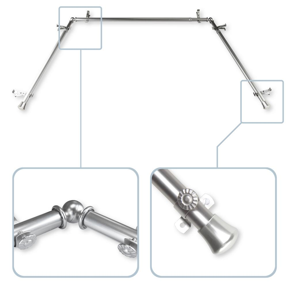 Mounting Curtain Rods Rod Desyne 13 16 In Bay Window Single Curtain Rod 20 In 36 In 38 In 72 In In Satin Nickel