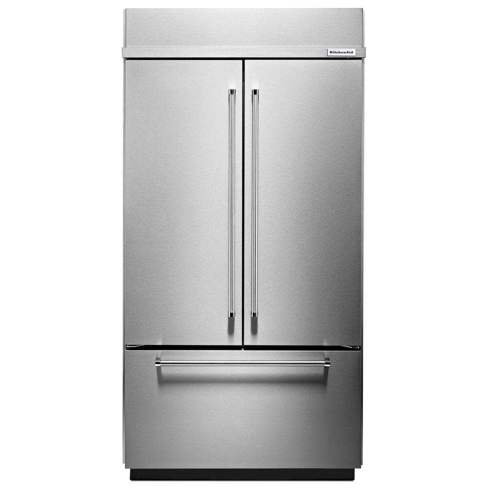 Built in french door refrigerator in stainless steel platinum interior kbfn506ess the home depot