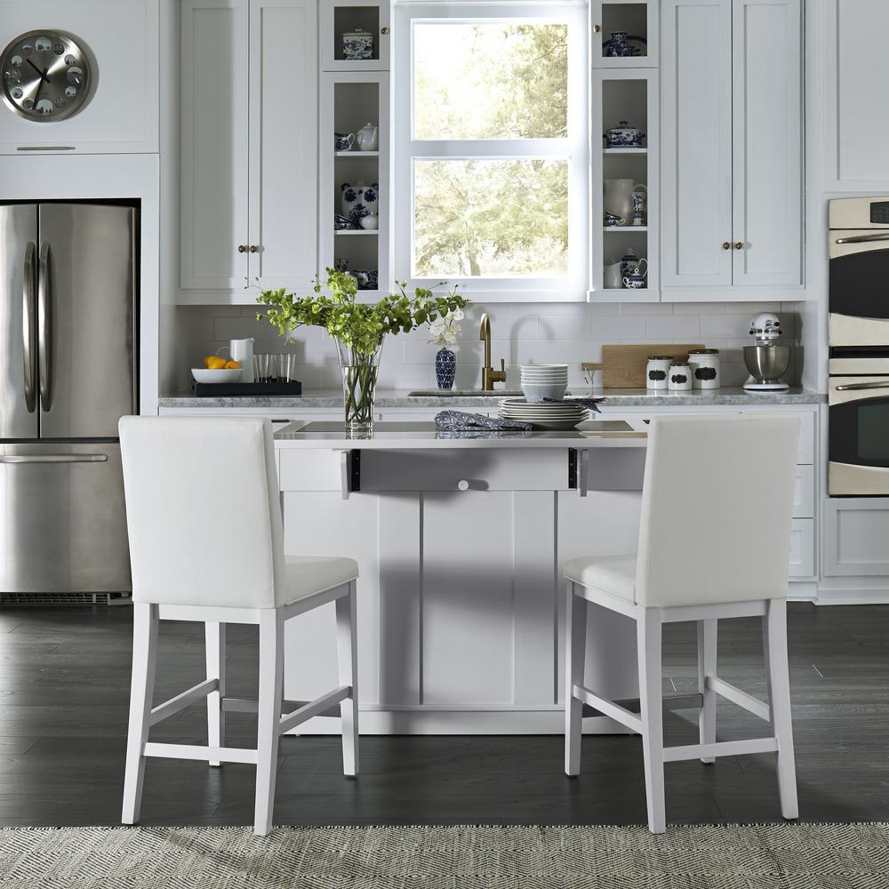 Stools Kitchen Islands Home Styles Linear White Kitchen Island And 2 Bar Stools 8000 948