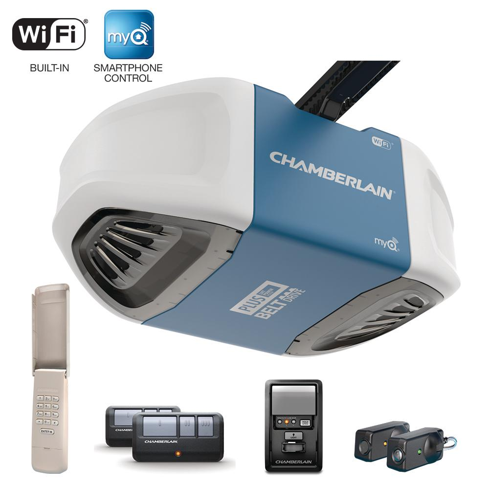 Garage Door Parts Near My Location 3 4 Hp Equivalent Ultra Quiet Belt Drive Smart Garage Door Opener