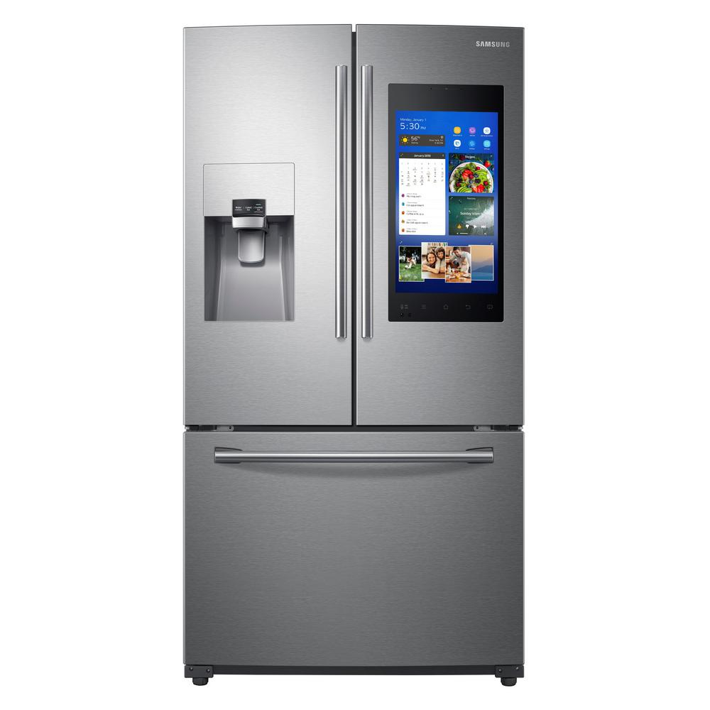 New Refrigerator Price Samsung 24 2 Cu Ft Family Hub French Door Smart Refrigerator In Stainless Steel