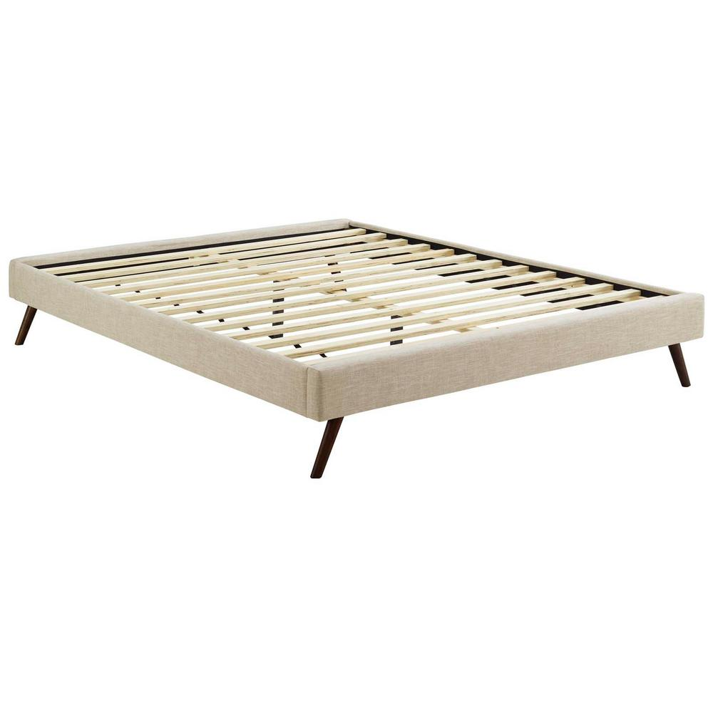 Queen Bed Frame Modway Loryn Beige King Bed Frame With Round Splayed Legs
