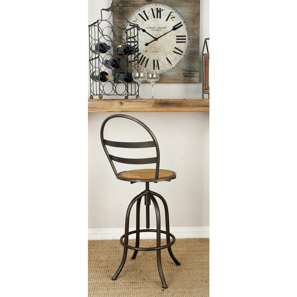 Rustic Style Bar Rustic Iron And Wood Arched Round Bar Stool