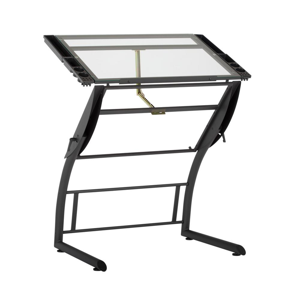 Adjustable Height Drafting Table Studio Designs Triflex 40 75 In W Metal And Glass Craft Art Drafting Table With Adjustable Height And Tilt Sit To Stand Desk Black