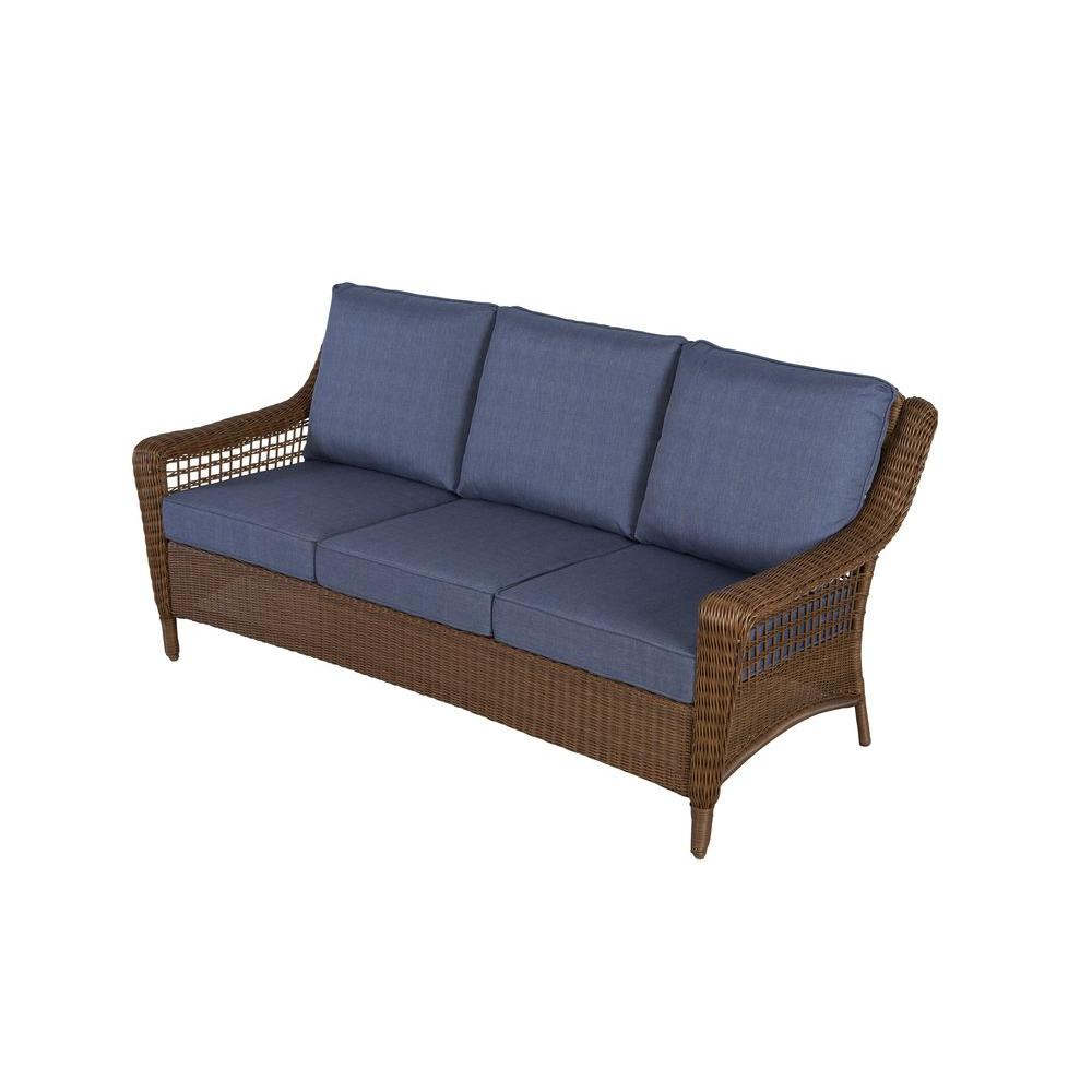 Sofa Cushions That Don't Go Flat Hampton Bay Spring Haven Brown All Weather Wicker Outdoor Patio Sofa With Sky Blue Cushions