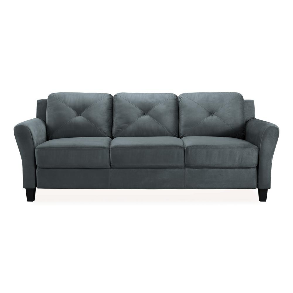 Sofa Depot Lifestyle Solutions Harvard Microfiber Sofa With Rolled Arms In Dark Grey