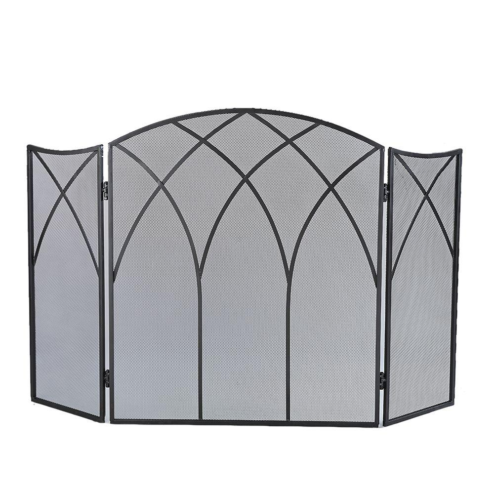 Small Fireplace Screens Under 30 Wide Pleasant Hearth Gothic Black Steel 3 Panel Fireplace Screen