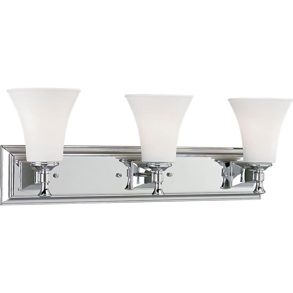 Lighting Fixtures Progress Lighting Fairfield Collection 3 Light Chrome Bathroom Vanity Light With Glass Shades