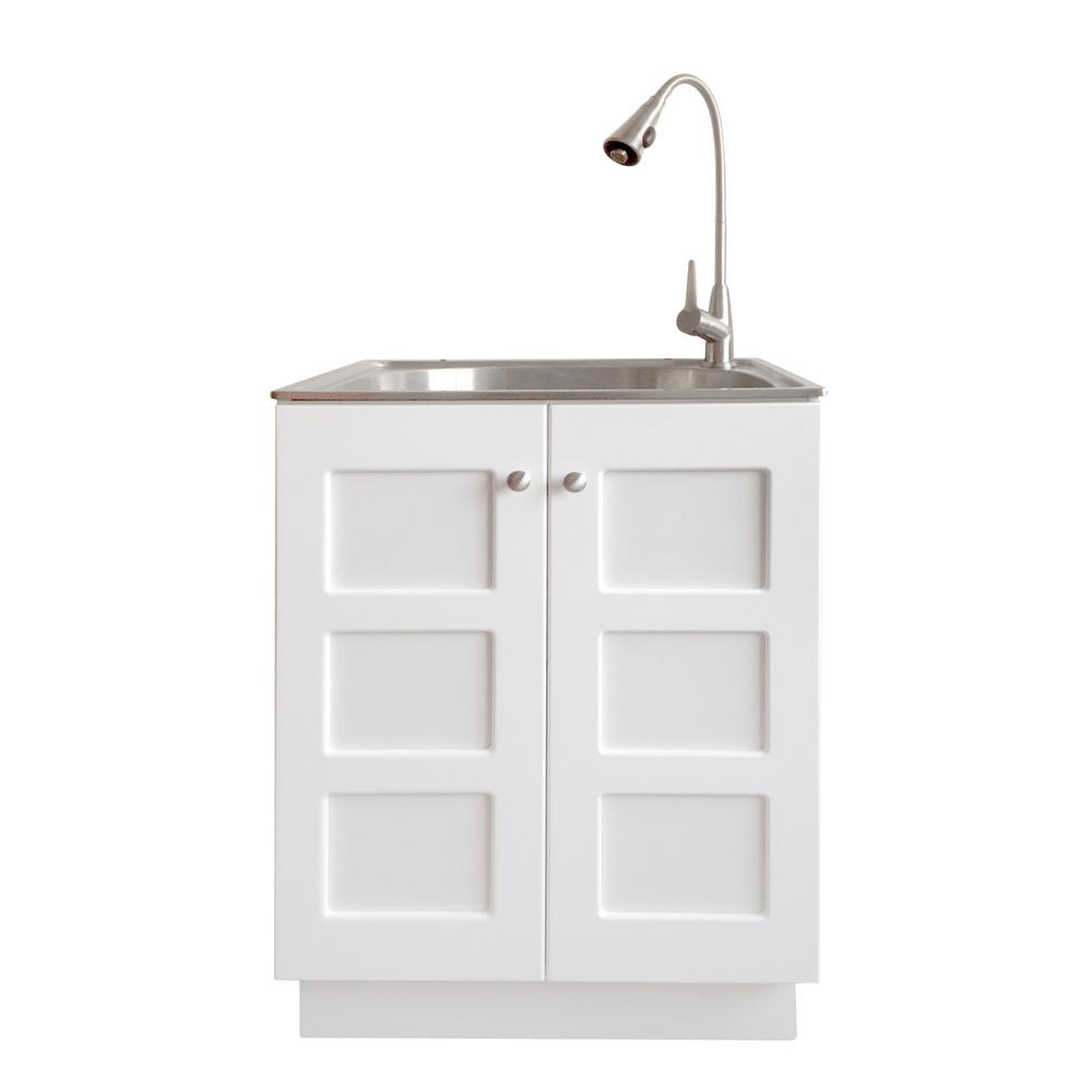 Garage Utility Sink All In One 24 2 In X 21 3 In X 33 8 In Stainless Steel Laundry Sink And White Cabinet With Reversible Doors