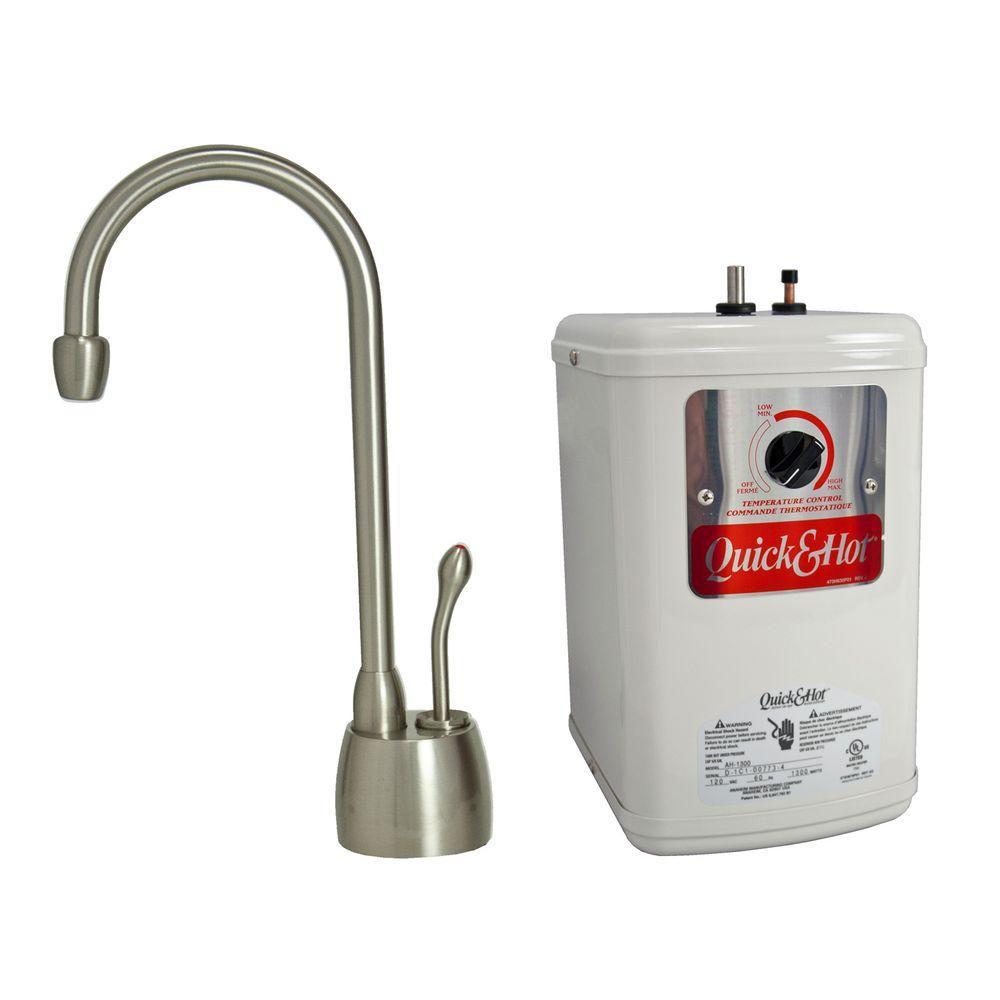 Countertop Instant Hot Water Dispenser Single Handle Hot Water Dispenser Faucet With Heating Tank In Brushed Nickel