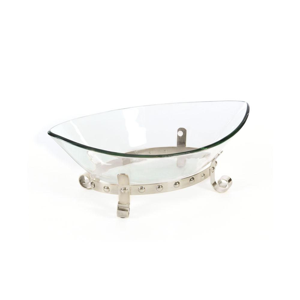Decorative Glass Bowls Clear Glass Boat Shaped Decorative Bowl With Silver Iron Scrolled Stand