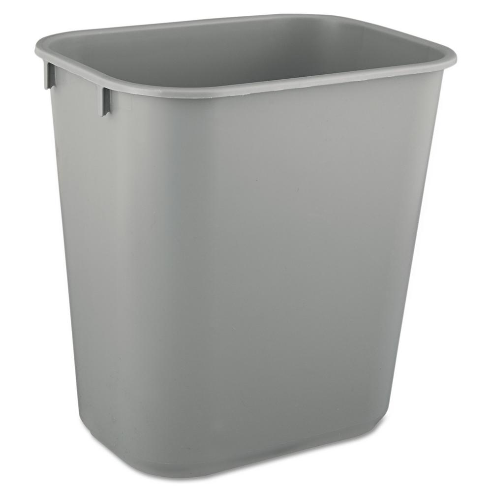 Small White Trash Can With Lid Rubbermaid Commercial Products 3 5 Gal Gray Rectangular Deskside Trash Can