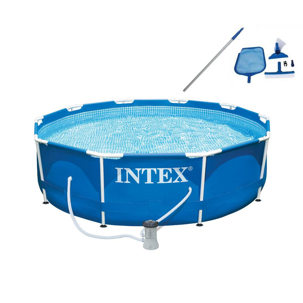 Intex Pool Frame Rund Intex 10 Ft X 30 In Deep Metal Frame Round Swimming Pool With