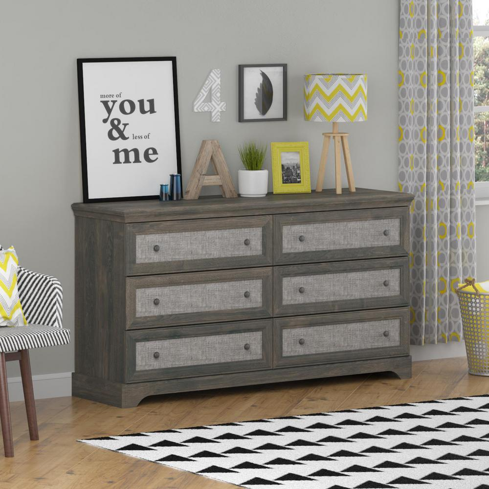 Dark Gray Dresser Altra Furniture Stone River 6-drawer Dark Gray Oak Dresser