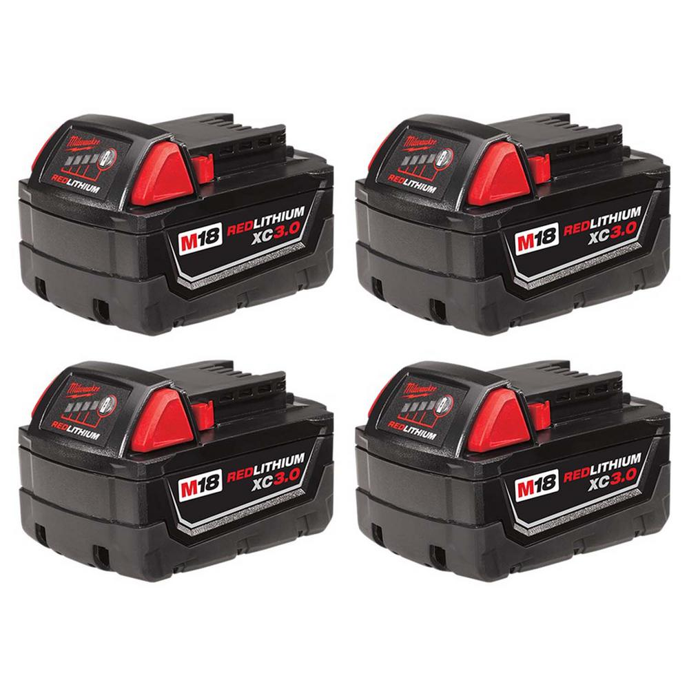Milwaukee M18 Battery Milwaukee M18 18 Volt Lithium Ion Xc Extended Capacity Battery Pack 3 0ah 4 Pack