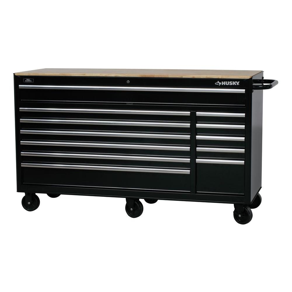 Möbel Shop 24 Husky 66 In W X 24 In D 12 Drawer Tool Chest Mobile Workbench With Solid Wood Top In Black