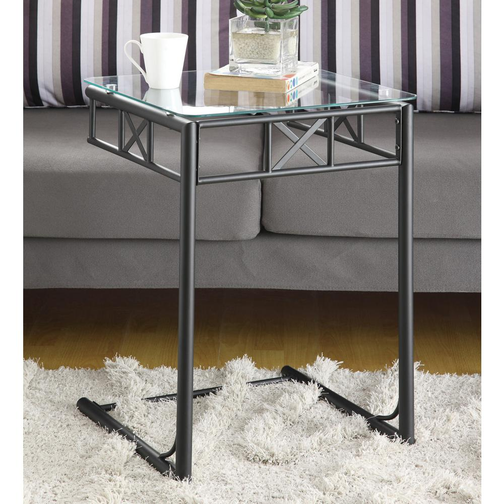 Metal Glass End Tables Black Metal Glass Top End Table