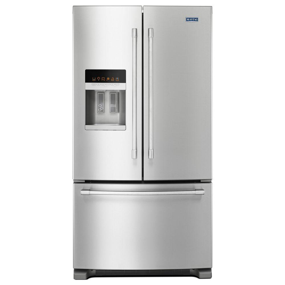 Home Depot Fridges Canada Maytag 25 Cu Ft French Door Refrigerator In Fingerprint Resistant Stainless Steel