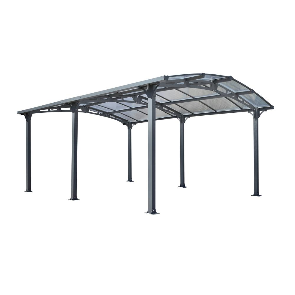 Zeichnung Carport Acay 11 Ft 8 In X 14 Ft 10 In X 7 Ft 9 In Clear Roof Powder Coated Aluminum And Steel Carport