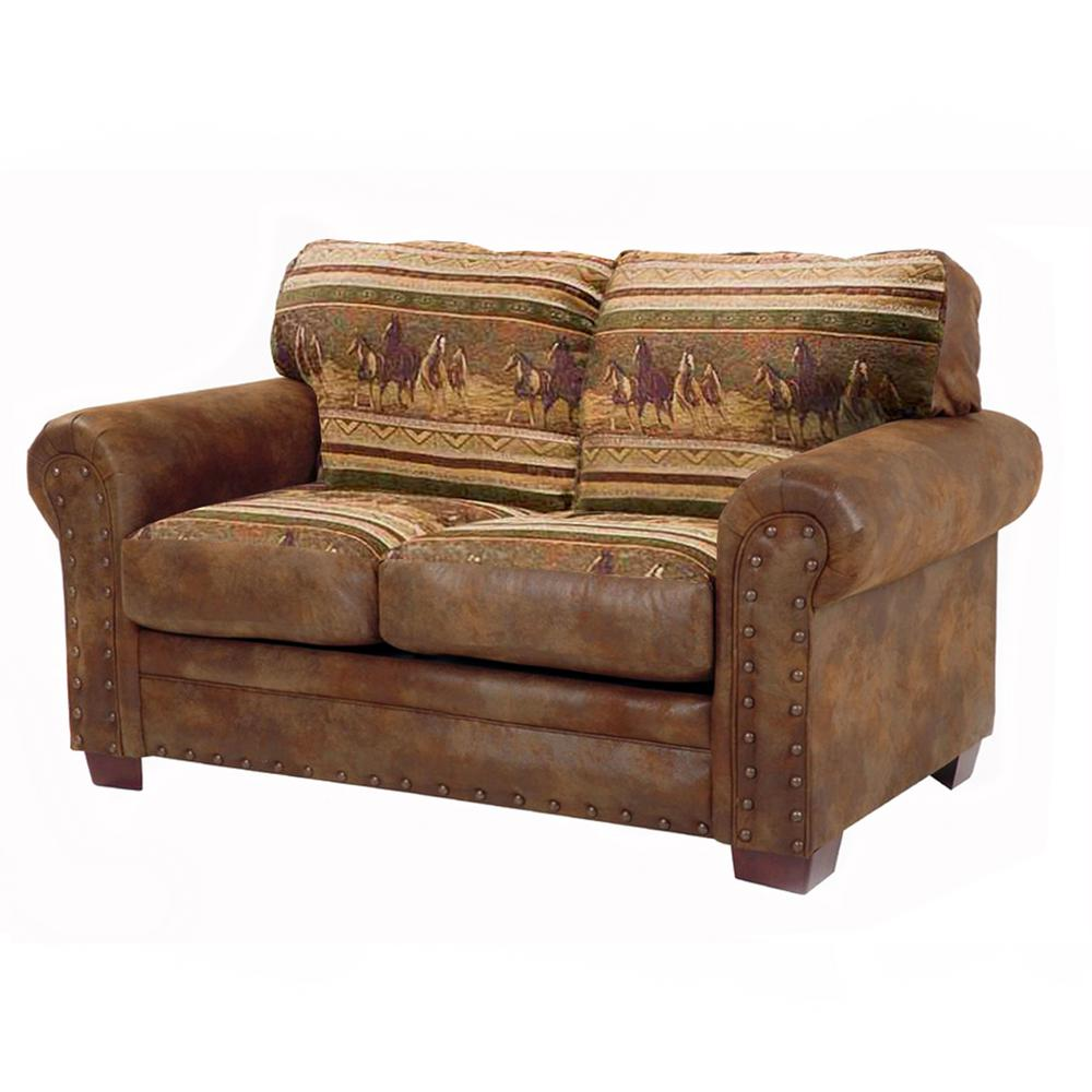 Accent Chairs To Go With Brown Leather Sofa American Furniture Classics Wild Horses Brown And Tan Microfiber And Tapestry Pattern With Nail Head Accents Loveseat