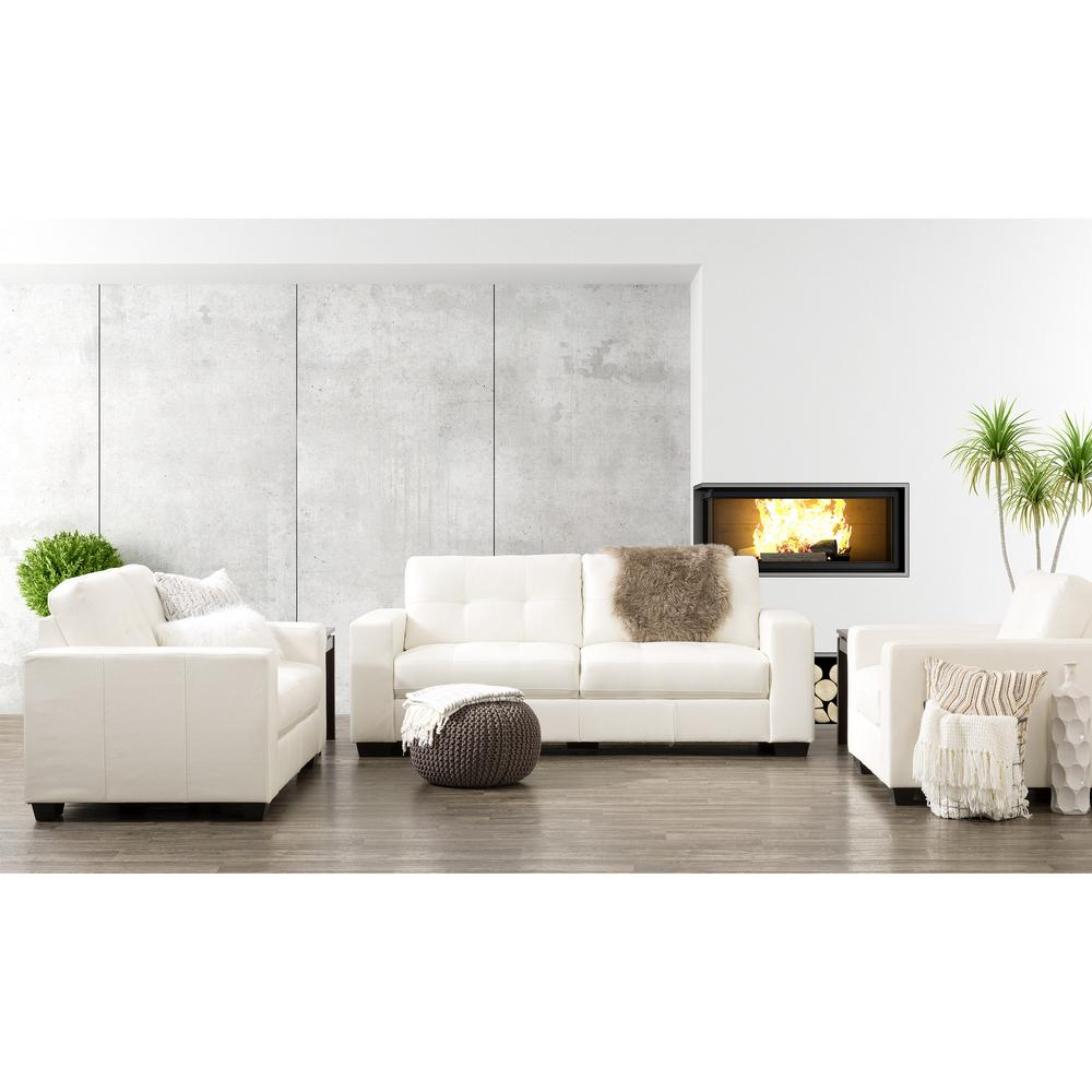 Moderno U Sofa Corliving Club 3 Piece Tufted White Bonded Leather Sofa Set