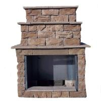 72 in. Fossill Brown Grand Outdoor Fireplace Kit-FBGFPL ...