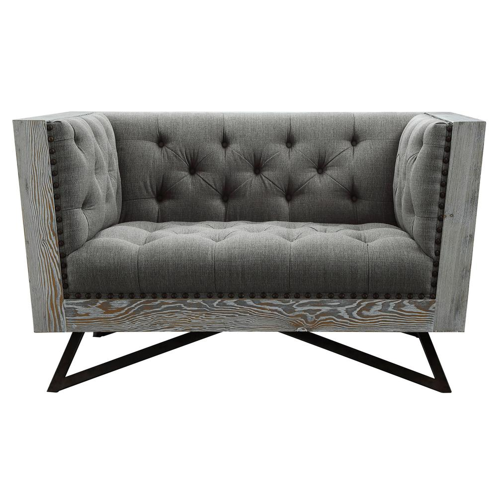 Contemporary Couch Regis Grey Fabric Contemporary Chair With Black Metal Legs And Antique Brown Nailhead Accents