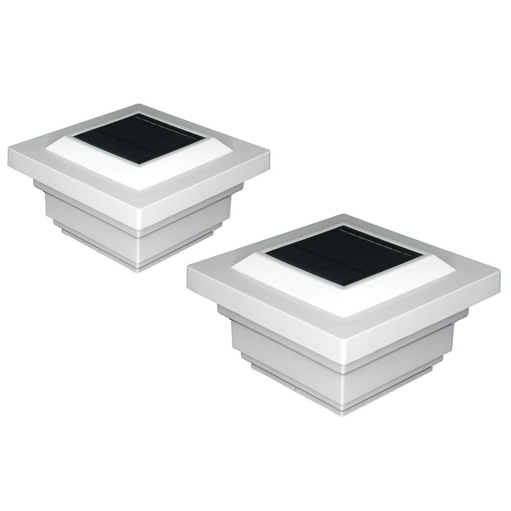 Led Regal Classy Caps Regal 4 In X 4 In Outdoor White Vinyl Led Solar Post Cap 2 Pack