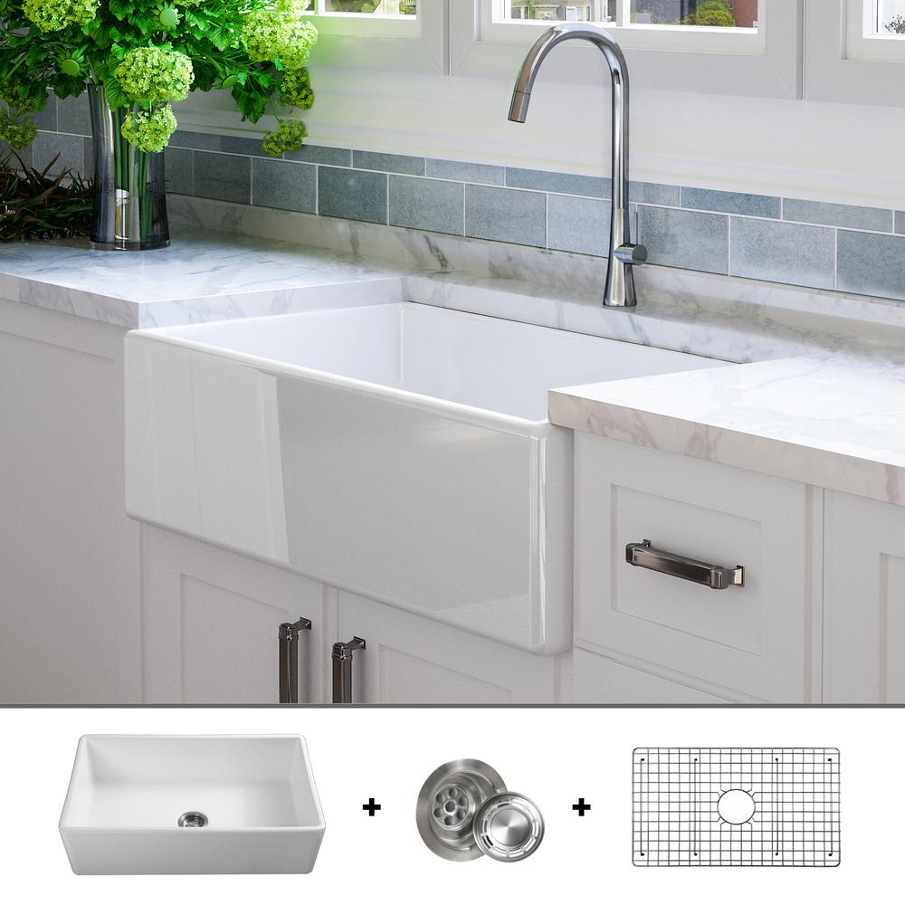 Shaw Farmhouse Sink Reviews Fossil Blu Luxury 33 Inch Fine Fireclay Modern Farmhouse Kitchen Sink In White Single Bowl Flat Front Includes Grid And Drain