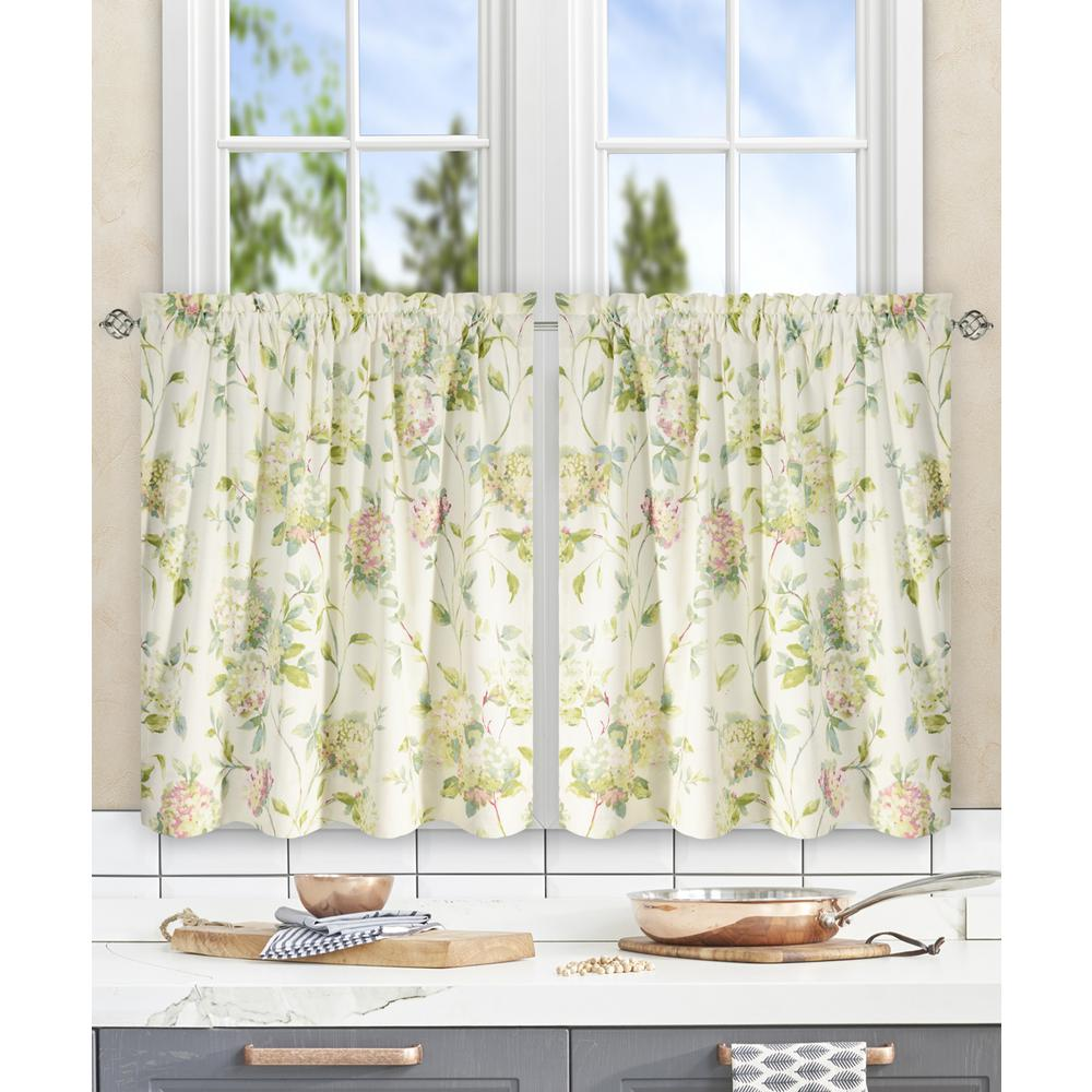 Traditional Curtains Ellis Curtain Abigail Multi Polyester Cotton Tailored Tier 56 In W X 24 In L