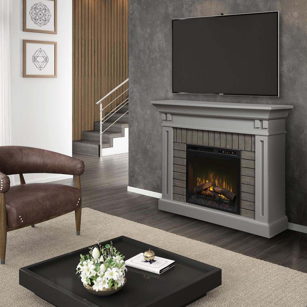 Living Room Electric Fireplace Dimplex Madison 58 In Electric Fireplace With Logs In Stone Grey With 28 In Mantel