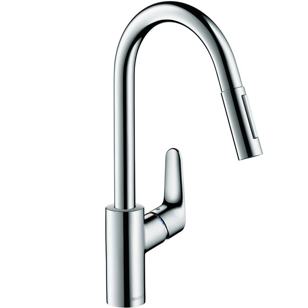 Hans Grohe Hansgrohe Focus Single Handle Pull Down Sprayer Kitchen Faucet In Chrome
