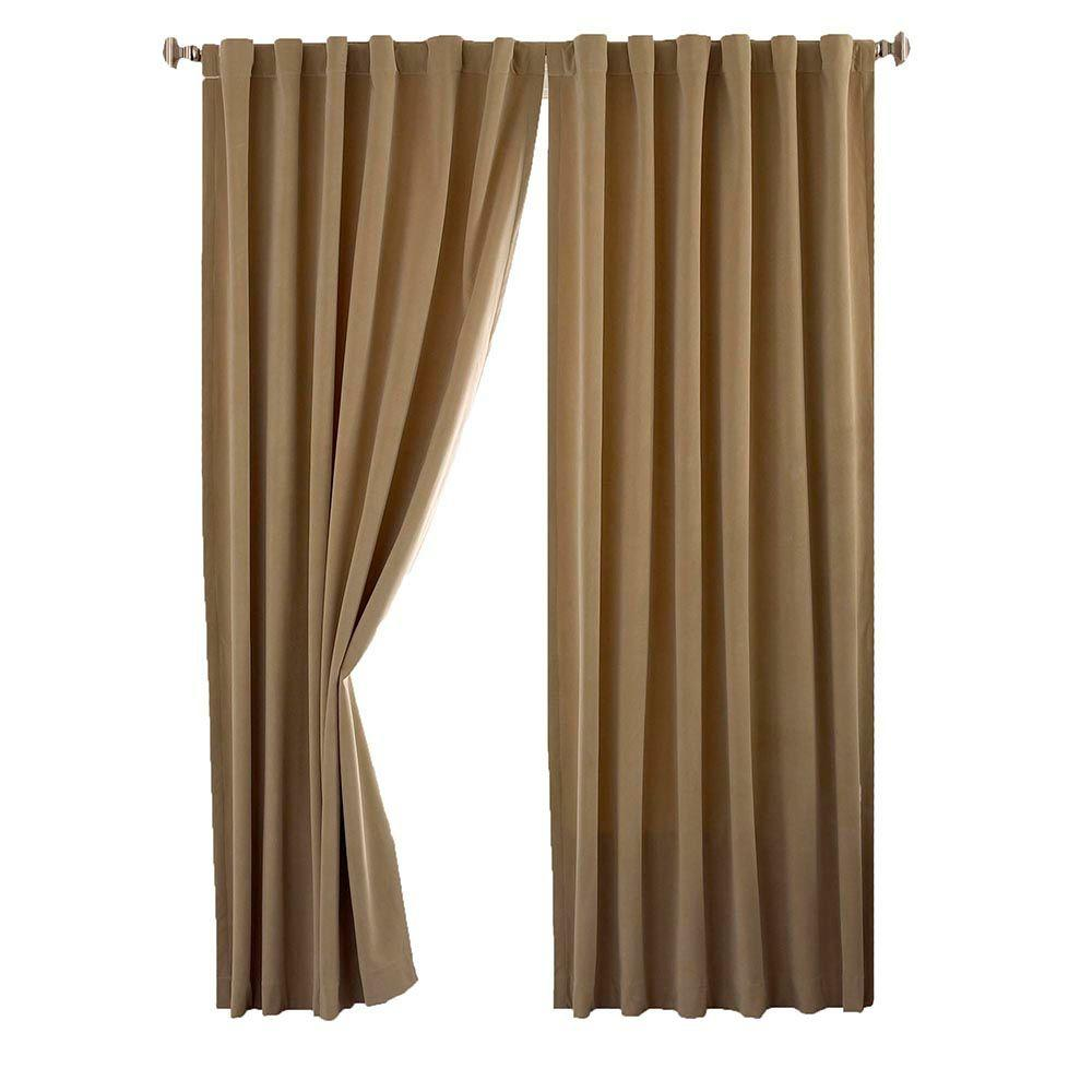 105 Inch Curtains Absolute Zero Bradley Total Blackout Window Curtain Panel In Cafe 50 In W X 63 In L