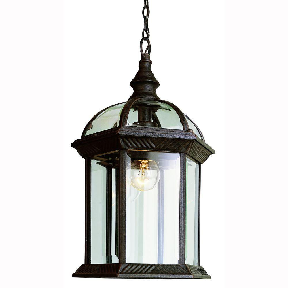 Lighting Online Bel Air Lighting Atrium 1 Light Outdoor Hanging Black Lantern With Clear Glass