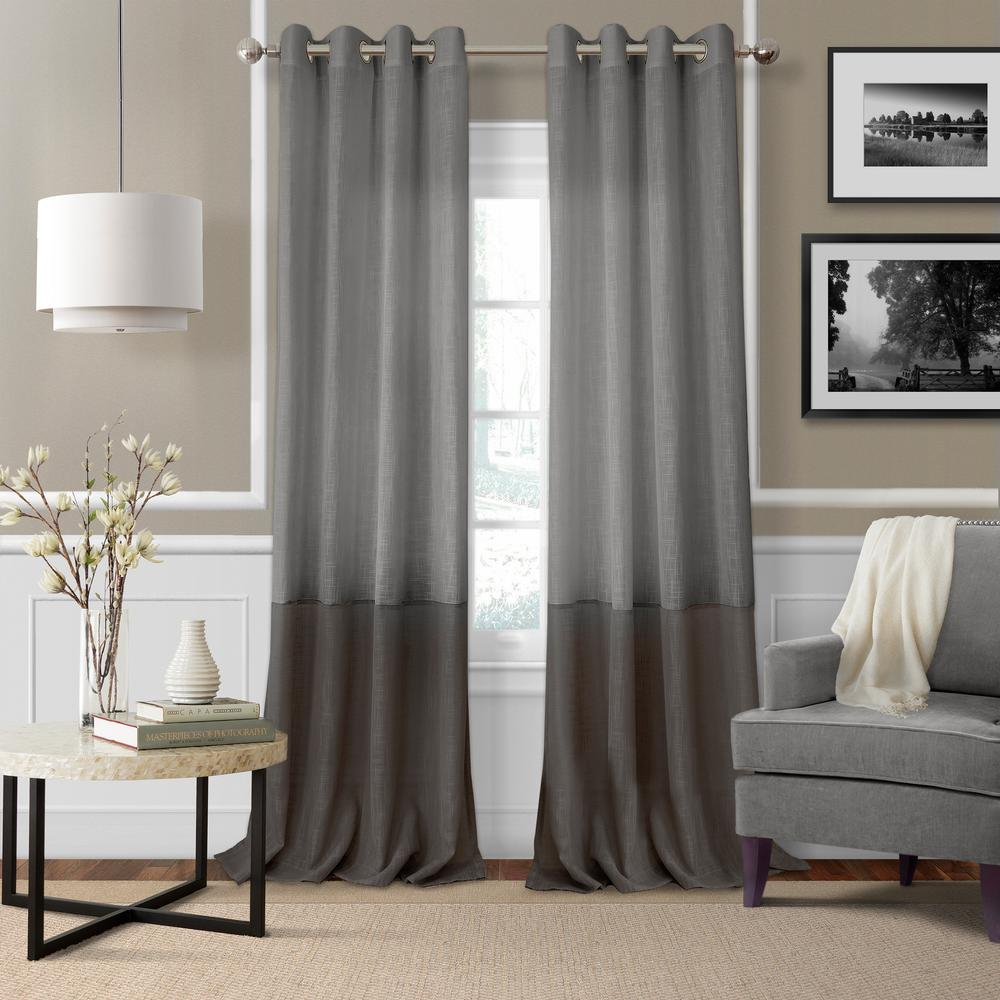 Draping Curtains Elrene Melody Color Block Semi Sheer Window Curtain