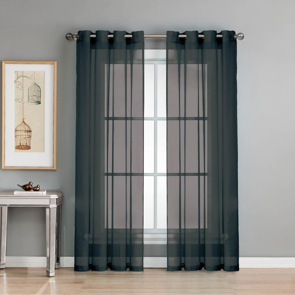 Black Voile Curtains Window Elements Sheer Diamond Sheer Voile Black Grommet Extra Wide Curtain Panel 56 In W X 84 In L