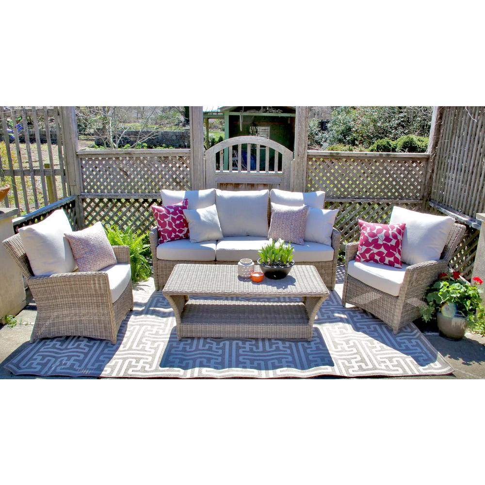 Owen 5 Piece Rattan Sofa Set With Cushions Ae Outdoor Oakmont 6 Piece All Weather Wicker Patio Conversation Set With Sunbrella Beige Cushions