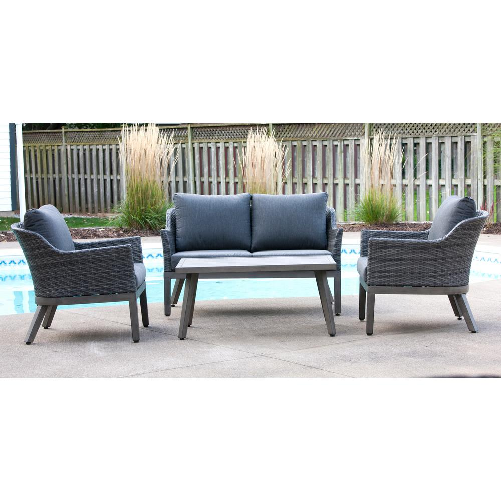 Baptist 6 Piece Rattan Sofa Set With Cushions Crown View 4 Piece Wicker Outdoor Patio Conversation Set With Grey Cushions