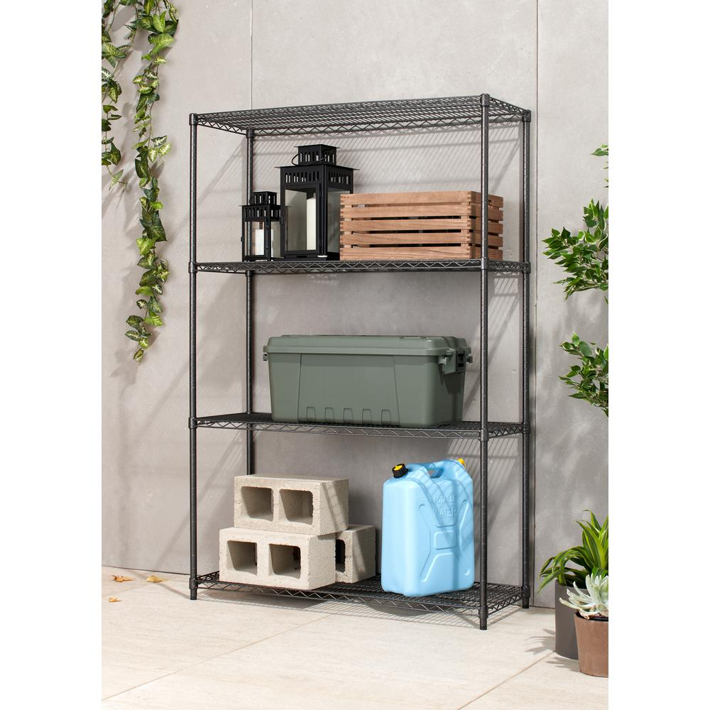 Garage Shelving Units Trinity Pro 18 In X 48 In X 72 In Black Anthracite 4 Tier Garage Shelving Unit