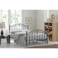 Hodedah Black-Silver Twin-size Metal Panel Bed with ...