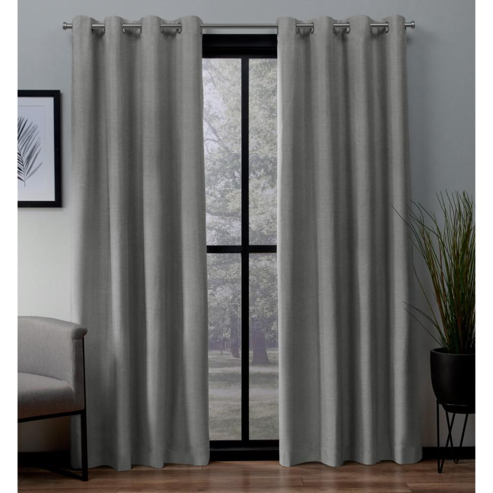 Curtain Insulation Fabric London 54 In W X 108 In L Woven Blackout Grommet Top Curtain Panel In Dove Grey 2 Panels