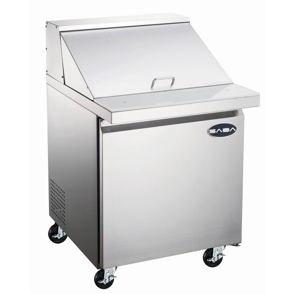 Stainless Restaurant Table Saba 27 5 In W 5 7 Cu Ft Commercial Mega Food Prep Table Refrigerator In Stainless Steel