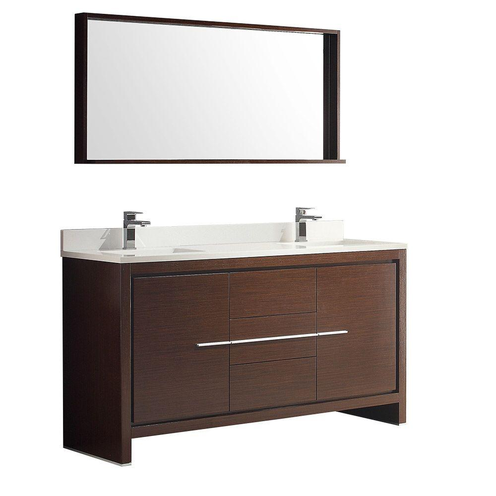 Double Sink Bathroom Vanity With Top Fresca Allier 60 In Double Vanity In Wenge Brown With Glass Stone Vanity Top In White With White Basins And Mirror