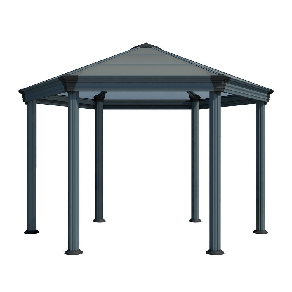Metal Garden Gazebo Palram Roma Hex 13 Ft 7 In X 11 Ft 9 In Aluminum Frame Hard Top Garden Gazebo