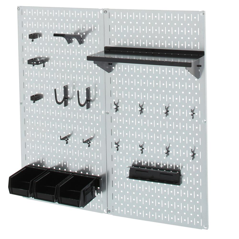 Peg Board Canada 32 In X 32 In Shiny Metallic Galvanized Steel Pegboard Utility Tool Storage Kit With Black Accessories