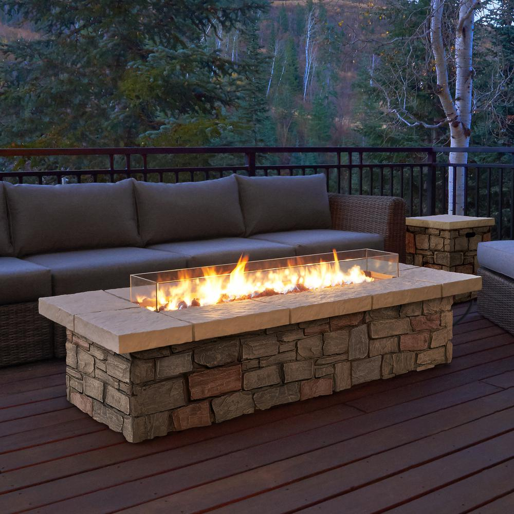 Home Depot Fire Pit Sedona 66 In X 19 In Rectangle Fiber Concrete Propane Fire Pit In Buff With Natural Gas Conversion Kit