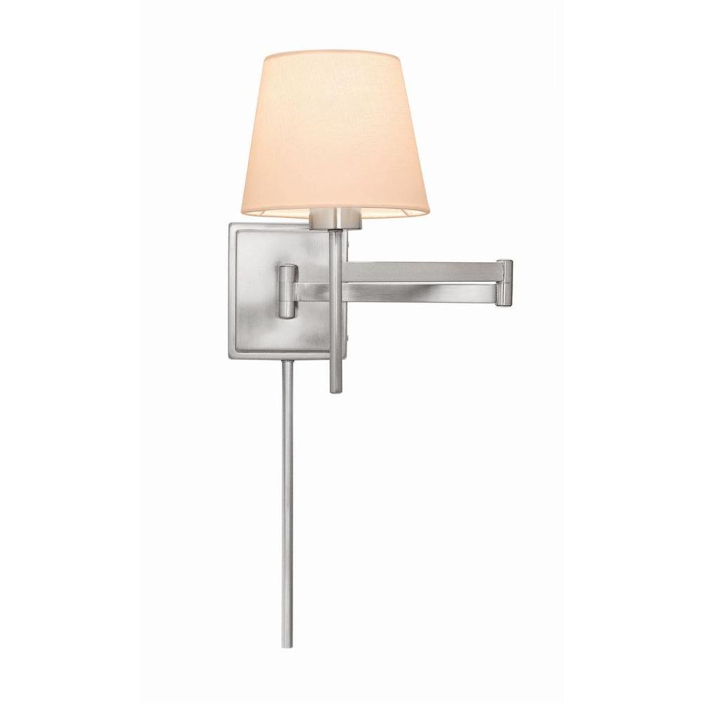 Swing Wall Lamp Hampton Bay 1 Light Brushed Nickel Swing Arm Sconce With White Linen Shade
