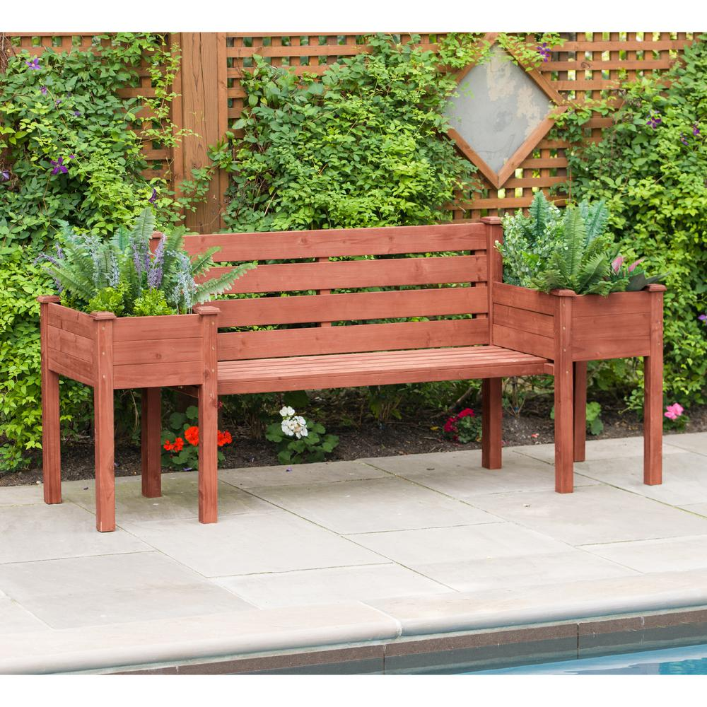 Planting Tables For Sale Leisure Season Wooden Medium Brown Patio Planter Bench
